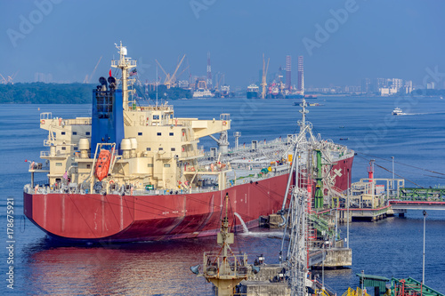Oil products tanker under cargo operations
