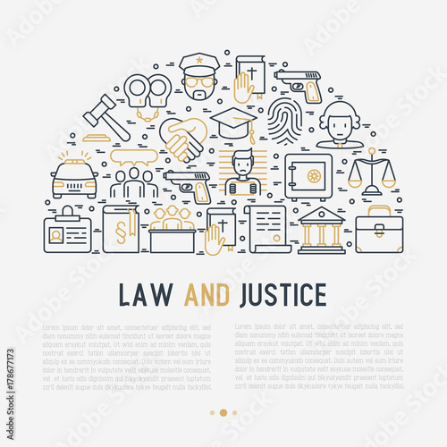 Law And Justice Concept In Half Circle With Thin Line Icons Judge