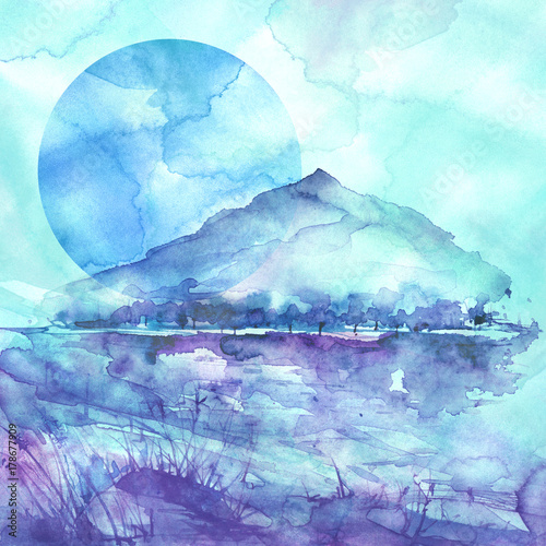 Tuinposter Lichtblauw Watercolor mountain landscape, blue, purple mountains, peak, forest silhouette, reflection in the river, blue moon, full moon. Wild grass, highlands, branches, flowers. Watercolor landscape, painting.