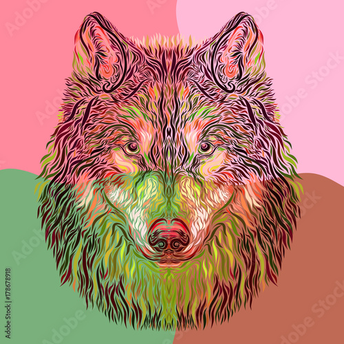 Photo sur Toile Croquis dessinés à la main des animaux creative and colorful image of a wolf