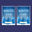 Two Festive Flyers with Spruces and Snowflakes ,Text Winter has Come and Winter is Coming Soon, Christmas Holiday Sale, Vector Illustration