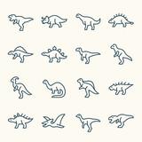 Fototapeta Dinusie - Dinosaurs line icons