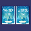 Two Holiday Posters with Spruces , Text Winter has Come and Winter is Coming Soon, Christmas Sale, Vector Illustration