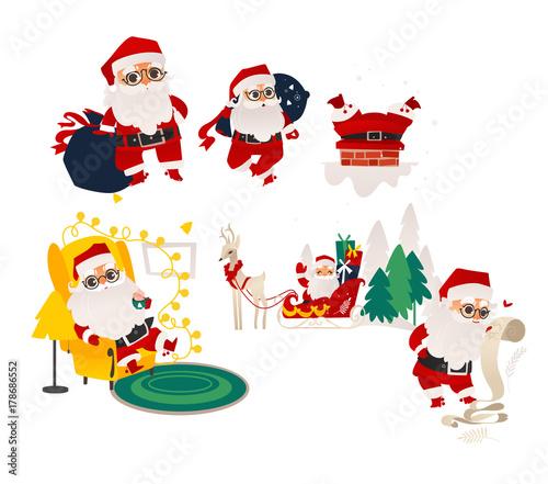Vector Flat Cartoon Santa Claus In Christmas Clothing Riding