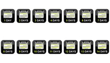 14 Buttons Zeigen 1-14 Days