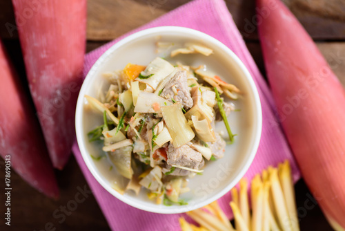 Thai food (Kaeng Hua Plee), spicy banana flower soup with pork in a bowl Canvas Print