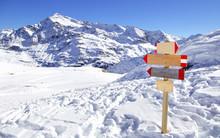 Direction Sign At Ski Resort I...