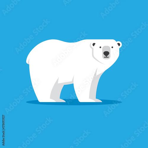 Fototapeta premium Ikona niedźwiedzia polarnego w stylu płaski.