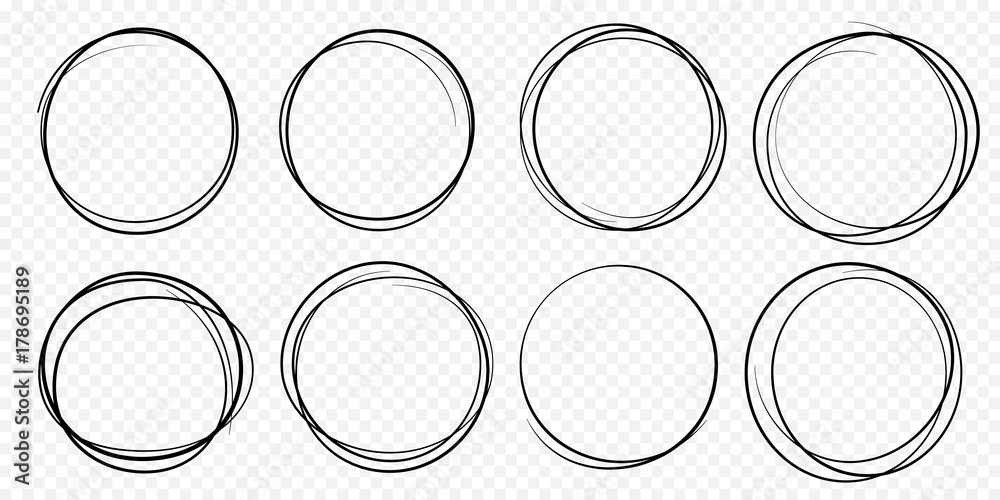 Fototapety, obrazy: Hand drawn circle line sketch set. Vector circular scribble doodle round circles for message note mark design element. Pencil or pen graffiti  bubble or ball draft illustration