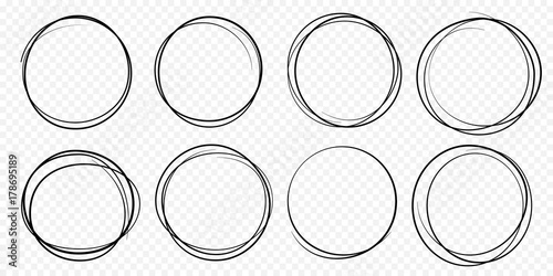 Hand drawn circle line sketch set Wallpaper Mural