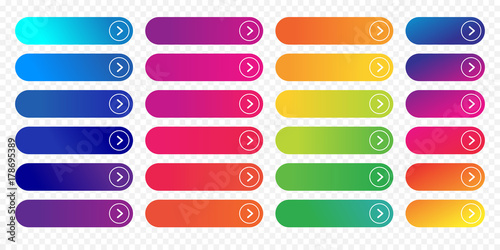 Cuadros en Lienzo Web buttons flat design template with color gradient and thin line outline style