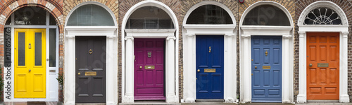 Set of colored doors in Dublin from Georgian times (18th century) Canvas Print