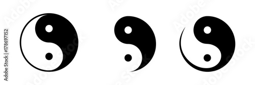 Fotografering  Vector set of black and white yin and yang symbols isolated on a white background