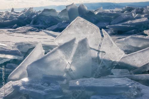 Deurstickers Poolcirkel Field of ice hummocks on the frozen Lake Baikal