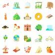 Tourist activity icons set, cartoon style