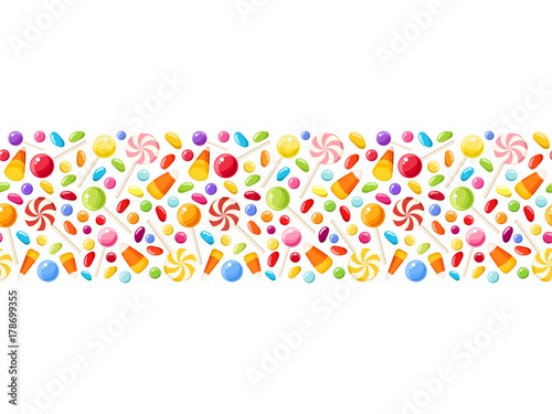 fototapeta na ścianę Vector horizontal seamless background with colorful Halloween candies.