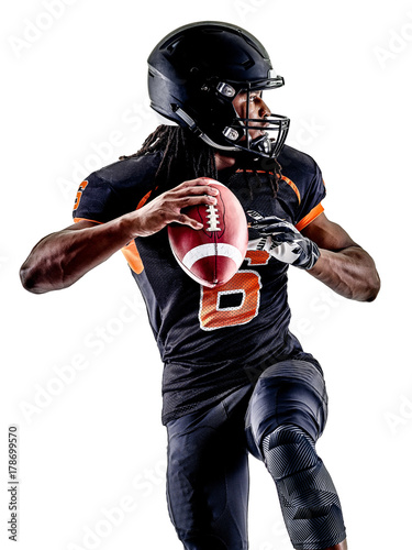 Canvas Print one american football player man isolated on white background
