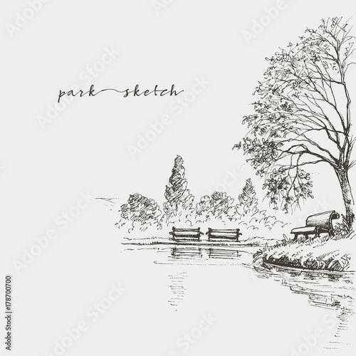 Fotografía  Artistic park sketch, bench and lake