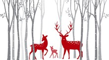 Red Christmas Deer With Birch ...