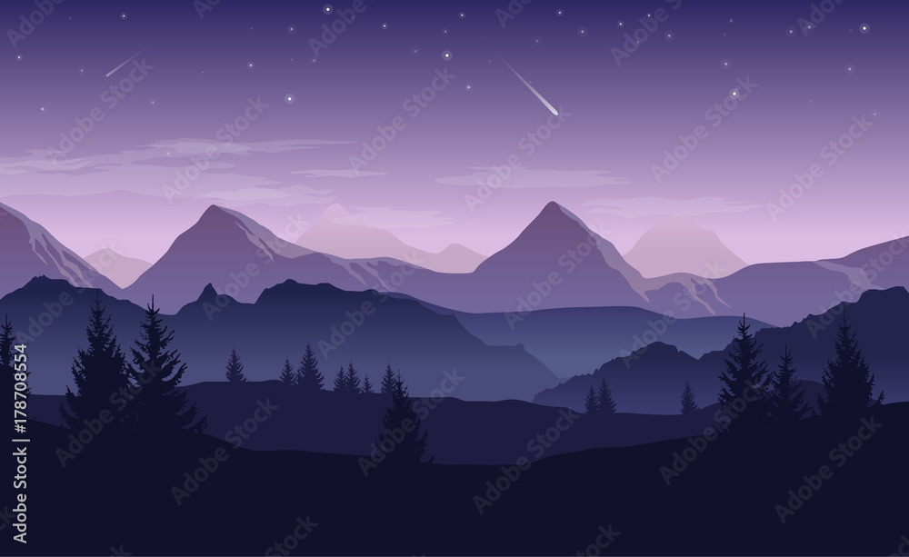 Fototapety, obrazy: Blue and purple landscape with silhouettes of mountains, hills and forest and stars in the sky - vector illustration