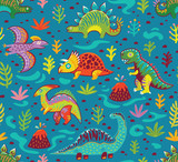 Fototapeta Dinusie - Cute cartoon dinosaurs endless background.