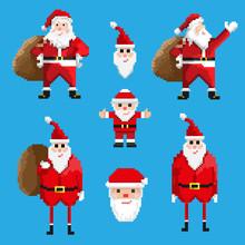 Set Of Pixel Santa Claus
