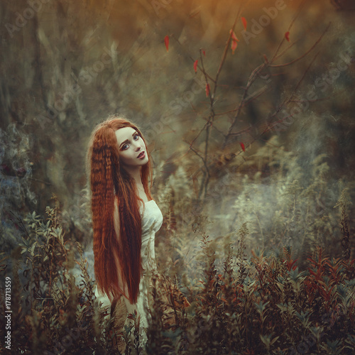 Cuadros en Lienzo A beautiful young woman with very long red hair as a witch walks through the autumn forest