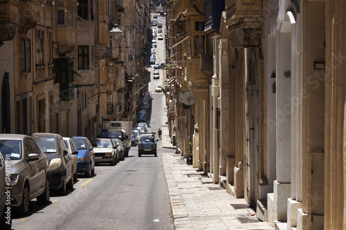 One of the old, historical streets in Valletta / Malta  Image shows