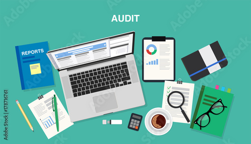 Audit, top view of a desk with a computer, notepad, documents, reports, smartphone, pens and pencils Canvas Print