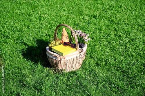 Türaufkleber Picknick Wicker basket with picnic stuff on green grass