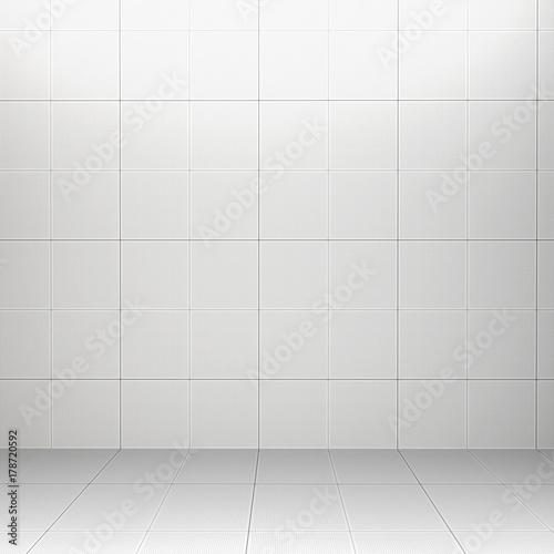 Interior Rendering Of White Square Ceramic Tiles And Tiled Floor 2479