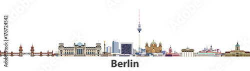 Berlin vector city skyline Wallpaper Mural