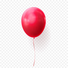 Red Balloon Vector Illustration On Transparent Background. Glossy Realistic Baloon For Birthday Party