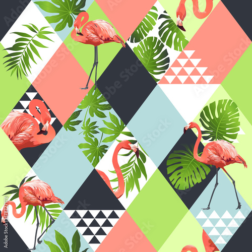 Exotic beach trendy seamless pattern, patchwork illustrated floral vector tropical banana leaves Tablou Canvas