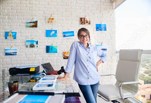 Fotografie, Obraz  Portrait Of Happy Confident Woman Girl Working As Artist