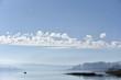 Pêcheur en barque sur le lac de Saint-Point (Doubs)