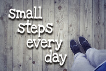 """Sport Active Lifestyle Concept. Motivational Text """"Small Steps Every Day"""""""