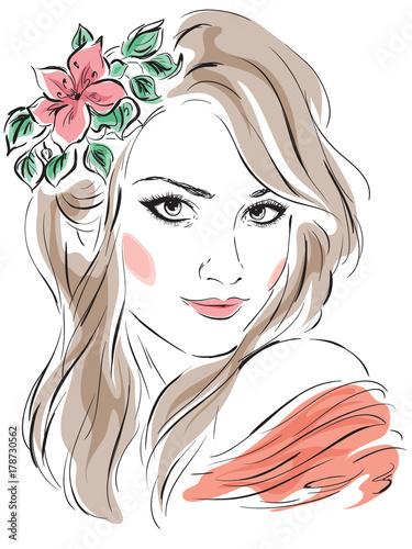 piekny-portret-kobiety-z-kwiatem-we-wlosach-na-bialym-tle