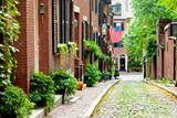 Fototapeta Uliczki - Boston picturesque cobblestone street in historic Beacon Hill. Most beautiful old street in Boston.