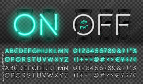 Fotografía  Big turquoise neon set, glowing alphabet, vector Font