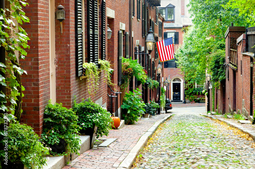 Valokuvatapetti Boston picturesque cobblestone street in historic Beacon Hill