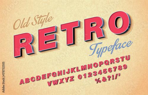 Fototapeta Vector of retro font and alphabet. 3d Italic style obraz na płótnie