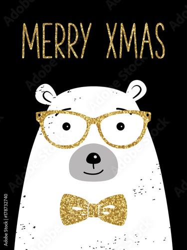 Naklejki na drzwi Życzenia od niedźwiedzia polarnego