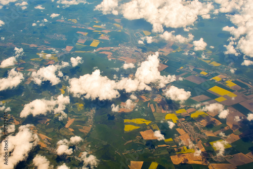 aerial view of village landscape over clouds - 178732944