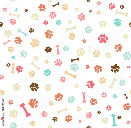obraz PCV Dog paw print seamless. Template for your design, wrapping paper, card, poster, banner, flyer. Vector illustration. Isolated on white background