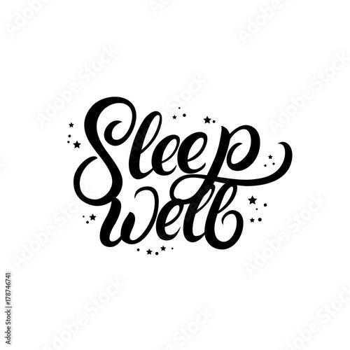 Plakat Śpij dobrze ręcznie napisany napis z gwiazdami.