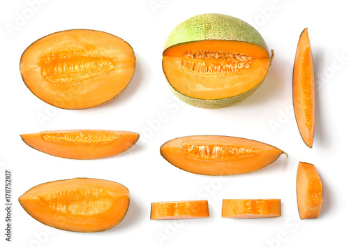 Fotografie, Obraz Sliced ripe melon on white background