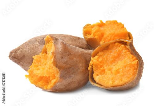 Fotografia, Obraz Baked sweet potato on white background