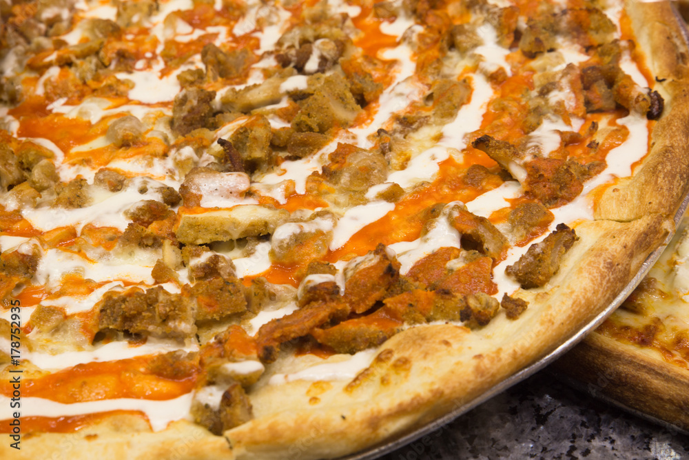 Buffalo chicken pizza pie