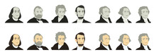 Portraits Of US Presidents And Famous Politicians. Stylized Like On US Dollar Banknotes Money Of USA. George Washington, Thomas Jefferson, Abraham Lincoln, Alexander Hamilton, Andrew Jackson, Ulysses